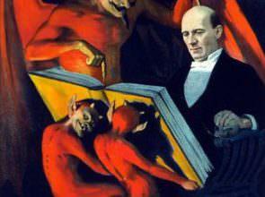 L'iconografia diabolica nei manifesti, il mago e la consulenza di Mefistofele